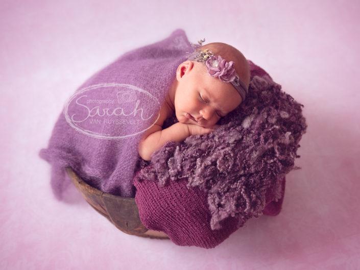 pasgeboren meisje met paars haarlint,Sarah Van Ruyssevelt Photography