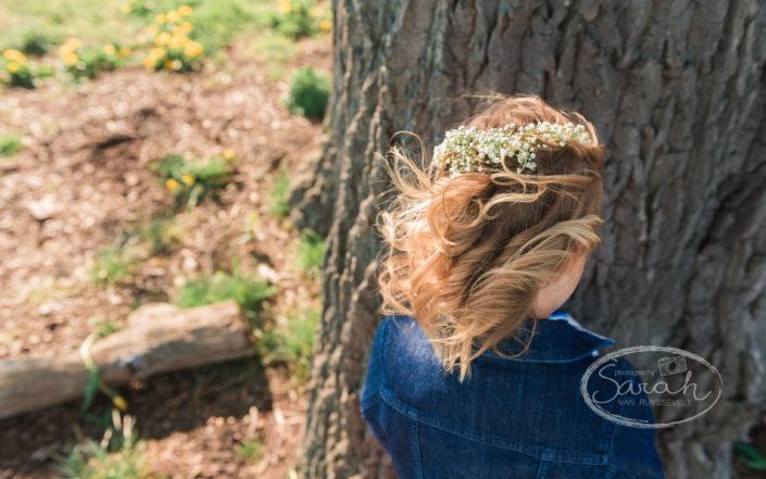 bloemen in het haar, Sarah Van Ruyssevelt Photography