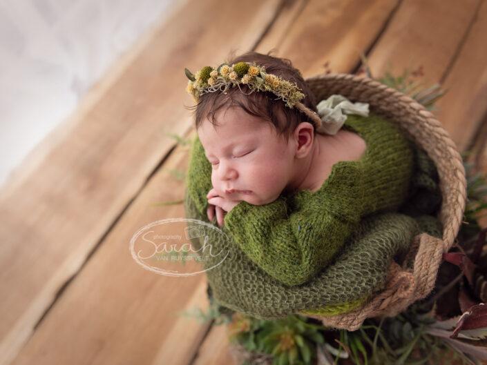 pasgeboren baby in mandje tijdens newborn fotosessie